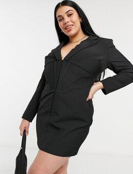 Blazer-jurk met korsetdetail in zwart