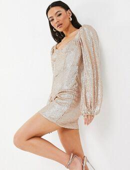 Mini-jurk met pofmouwen en lovertjes in goud