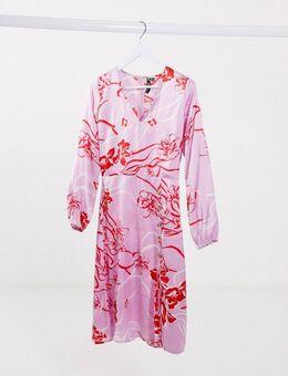 Midi-jurk met knopen vooraan en bloemenprint in roze