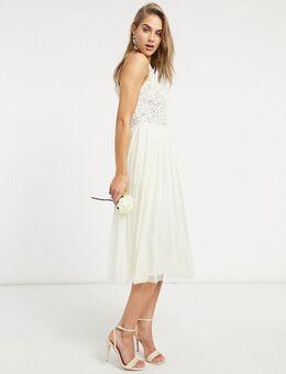 Bruidskleding - Midi jurk van tule met halternek en fijne lovertjes in kleurschakering in ecru-Wit