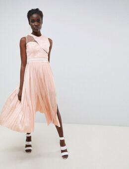 Geplooide midi-jurk met asymmetrische schouders-Roze