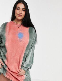 T-shirtjurk met soleil-print in tie-dye-Meerkleurig