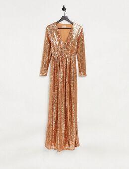 Club L - Lange jurk met overslag aan de voorkant en lovertjes in roestbruin-Oranje