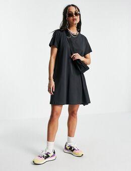 Teeny - Mini-T-shirtjurk van biologisch katoen in zwart met wassing