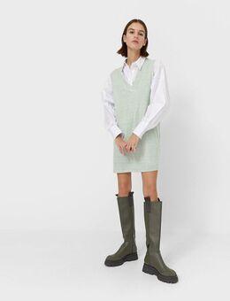 Korte hemdtrui-jurk in mintgroen