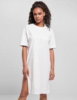 T-shirtjurk van organisch katoen met split in wit
