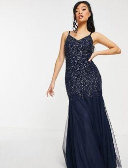 Maxi jurk met fijne pailletten en visstaart in marineblauw
