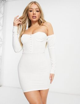 Mini-jurk met blote schouders, volumineuze mouwen en korsetdetail in wit