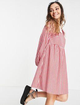 Mini jurk met pofmouwen en rode gingham ruit met contrasterende kraag met ruches-Rood