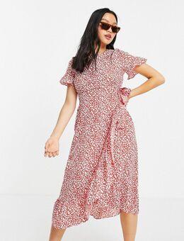 Nette midi-jurk met ruches en stippen in rood