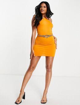 Flounce - Naughties - Mini jurk met halternek in oranje