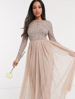 Lange tule jurk voor bruidsmeisjes met lange mouwen, V-rug en bovenlaag van verfijnde lovertjes met dezelfde kleurschakering in taupe-Bruin