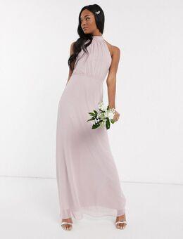 Lange hoogsluitende bruidsmeisjes jurk van chiffon-Grijs