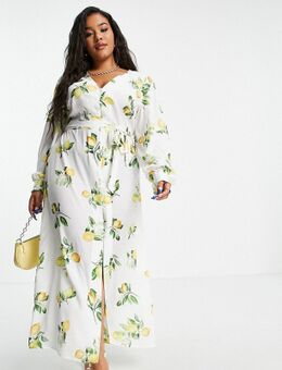 X Stacey Solomon - Midi jurk met strikdetail in zomerse citroenprint-Meerkleurig