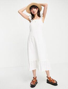 Midi-jurk met gestrikte taille en peplum zoom van biologisch katoen in broderie-Wit