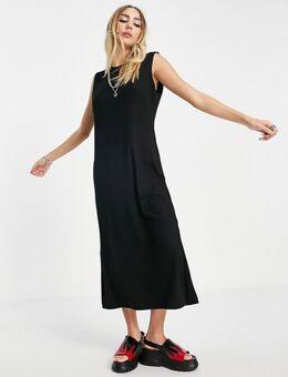Mouwloze midi-jurk met zijsplit in zwart