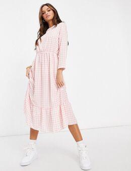 Gesmokte midi-jurk met gingham-ruit en ruches aan de zoom-Verschillende kleuren