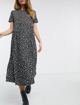 Wednesday's Girl - Zwangerschapskleding - Aangerimpelde midi-jurk met vlekjesprint-Zwart