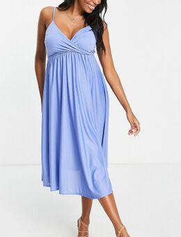 ASOS DESIGN Maternity - Midi cami-jurk met diepuitgesneden gestrikte achterkant in Perzisch blauw