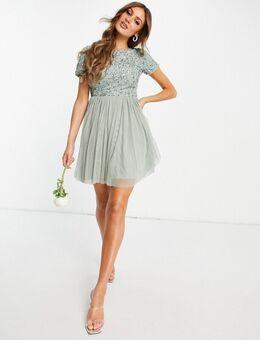 Bruidsmeisjes - Midi-jurk met versiering en kapmouwtjes in saliegroen