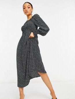 Midi-jurk in zwart met dalmatiërstippen