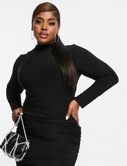 Gerimpelde mini jurk in zwart