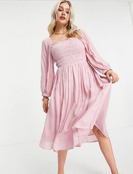 Midi jurk van roze jacquard