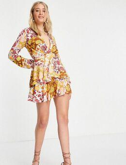 Exclusives - Diepuitgesneden mini jurk met ruches en stroken in contrasterende bloemenprint-Meerkleurig