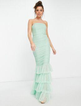 Aangerimpelde maxi jurk in mintgroen