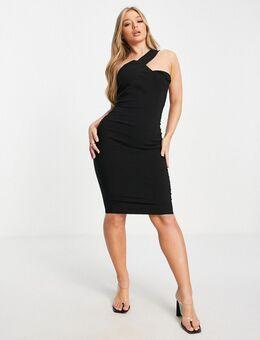 Gestructureerde midi-jurk met blote schouder in zwart