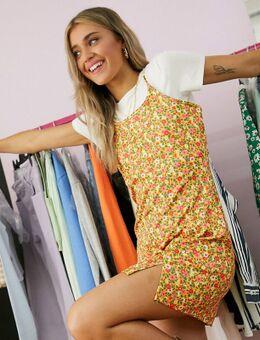 Korte T-shirtjurk met cami-bovenlaag en vintage bloemenprint-Multi