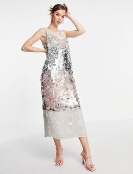 Midi jurk met paneel met ombre pailletten-Meerkleurig