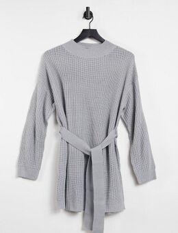 Gebreide trui jurk met ceintuur in grijs