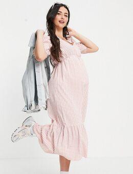 Aangerimpelde midi jurk met korte mouwen, overslag en stroken in roze gingham ruit