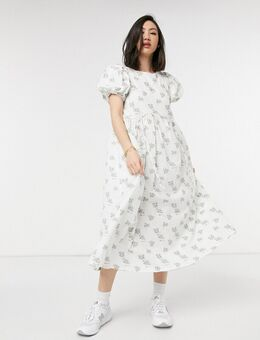 Midi jurk met trekkoord en vintage bloemenprint met textuur-Wit