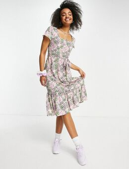 Midi-jurk met gestrikte taille, volant en bloemenprint-Paars