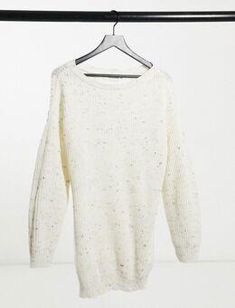 X Jac Joss trui-jurk met blote schouders in crème-Wit