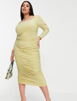 Gerimpelde midi-jurk met lange mouwen en open achterkant in salie-Groen