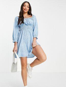 Mini jurk met vierkante hals en rimpeleffect in blauw patroon