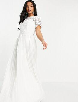 Lange kanten jurk met geschulpte achterkant in wit-Roze