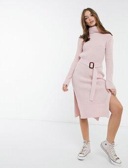 X Billie Faiers - Gebreide jurk met col en riem in roze