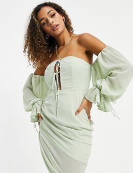 Schouderloze mini jurk met gestrikt detail in saliegroen