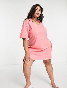 Threadbare Plus - Mini-jurk met V-hals en polokraagje in roze