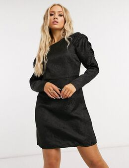 Mini-jurk met overdreven mouwen in zwart jacquard