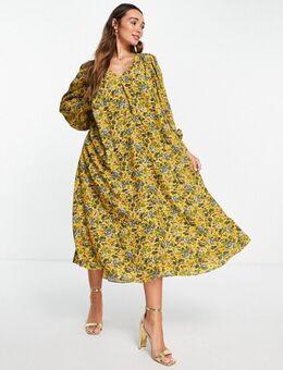 Midi-jurk met A-lijn en bloemenprint-Geel