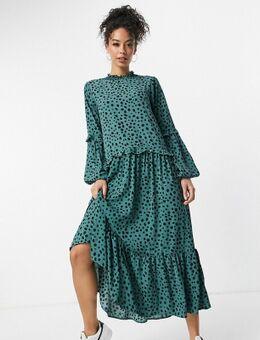 Aangerimpelde hoogsluitende midi-jurk in groenblauw