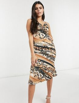 Midi-slipdress in dierenprint-Multikleur