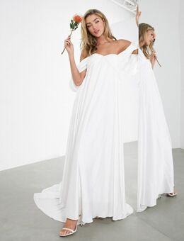 Jasmine - Trouwjurk met aangerimpelde buste en gedrapeerde mouwen-Wit