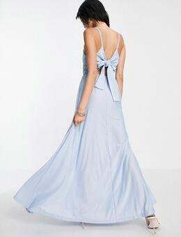 Lange jurk met diep decolleté, camibandjes en strik achter in blauw