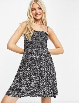 Mini jurk met gestrikte camibandjes en bloemenprint-Veelkleurig